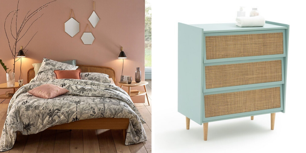 soldes meuble chambre cannage