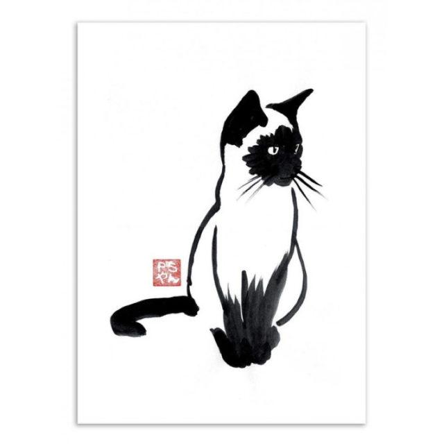 décoration murale affiche chat noir et blanc