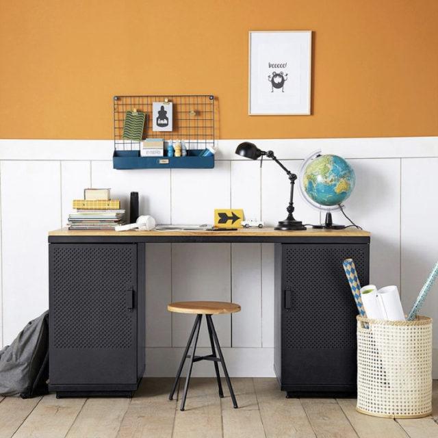 bureau classique avec rangement bas gain de place