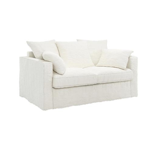 canape blanc lin froissé