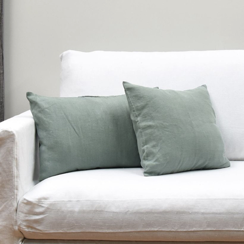 style naturel chic coussin velours vers sauge