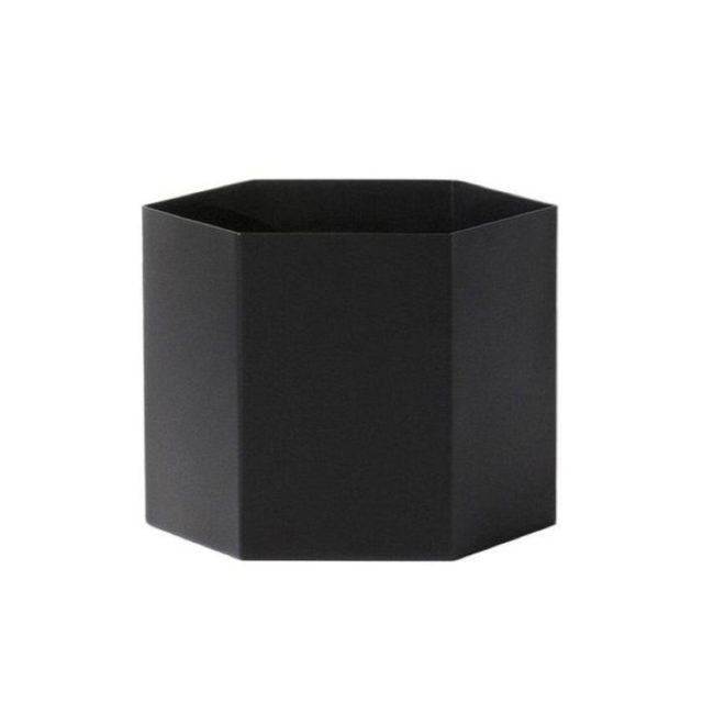 intérieur style nature cache-pot noir hexagonal