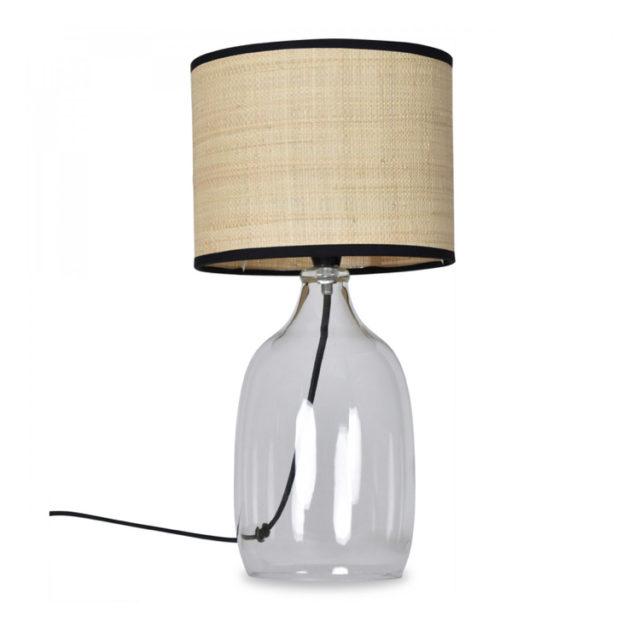 style nature lampe verre et abat-jour