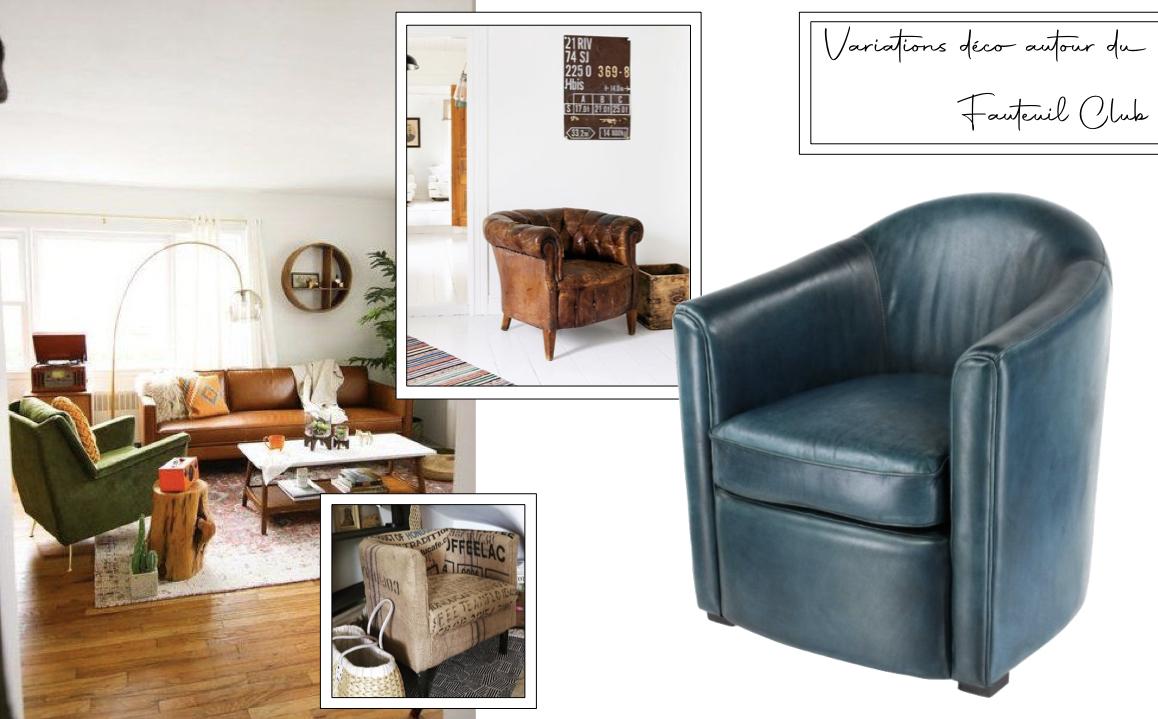 fauteuil club decoration salon cuir couleur variation