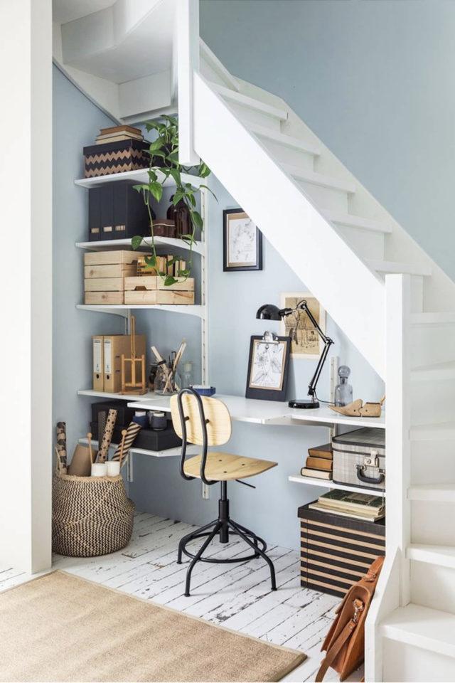 gain de place petit bureau sous escalier