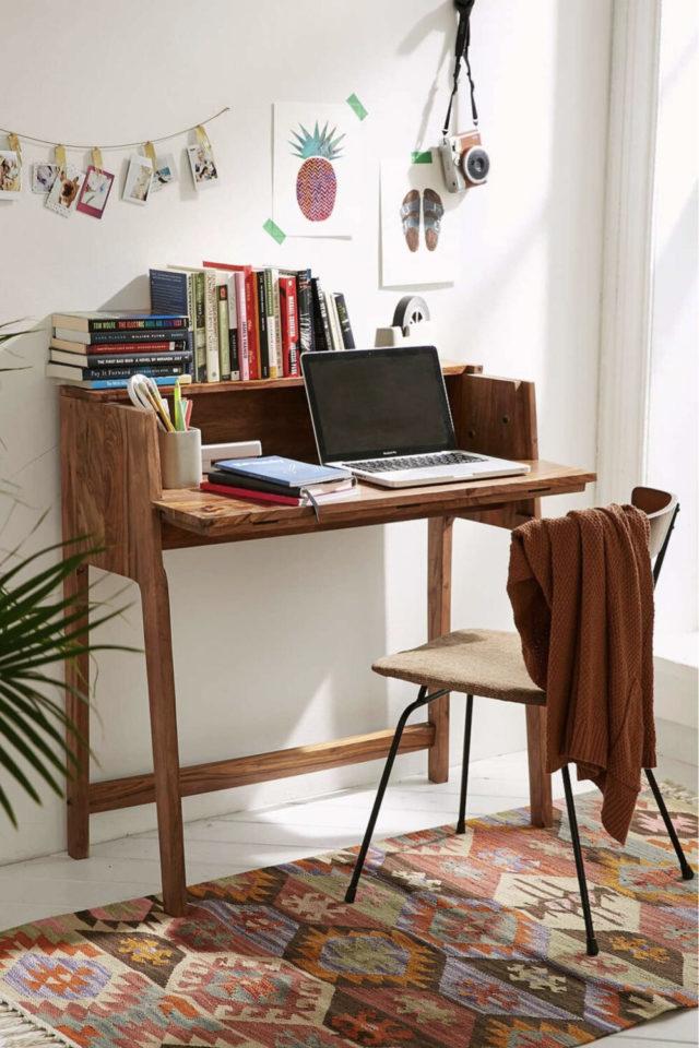 gain de place petit bureau  bois petit modele