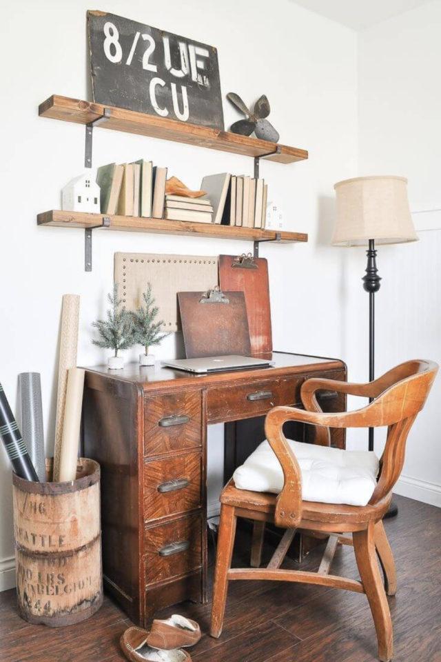 gain de place petit bureau  bois retro