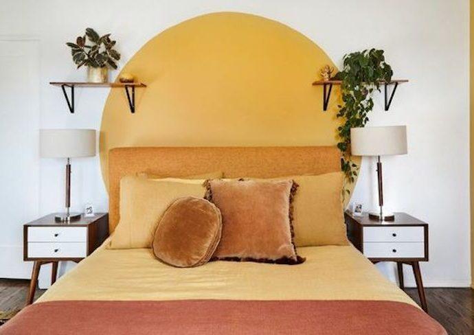 décoration murale jaune ronde peinture chambre association couleur