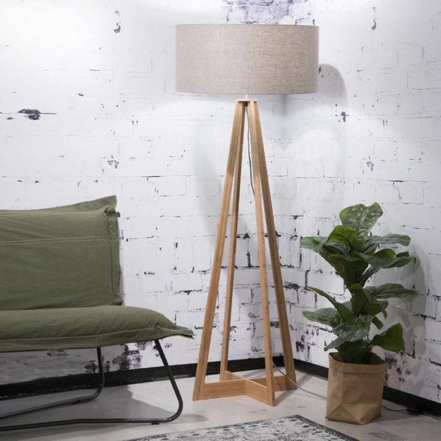 style nature lampadaire bambou et llin
