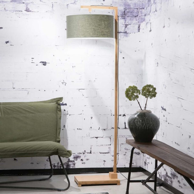 style nature lampadaire abat-jour en lin vert