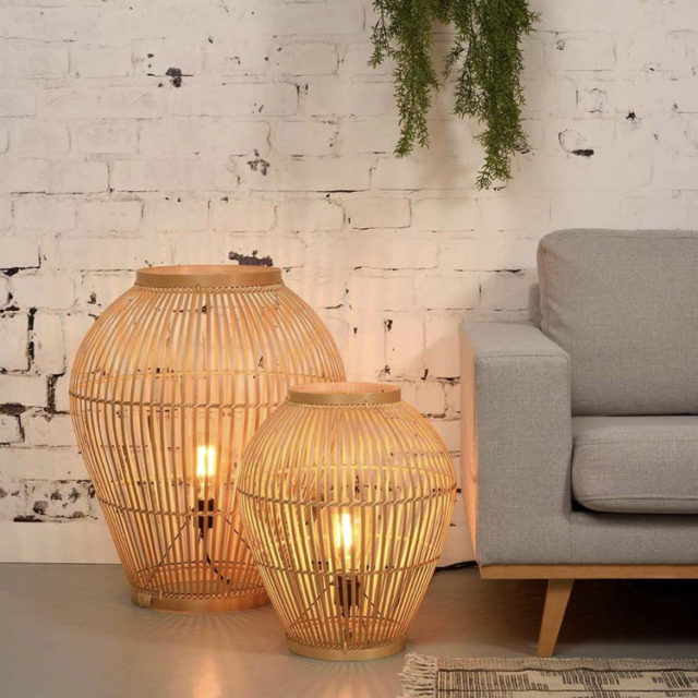 style nature lampe à poser côté canapé