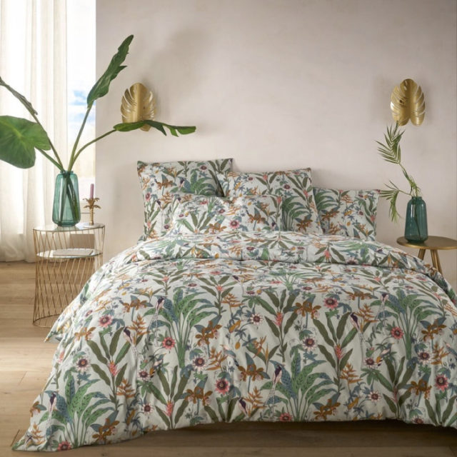 ambiance déco nature chambre linge de lit imprimé floral