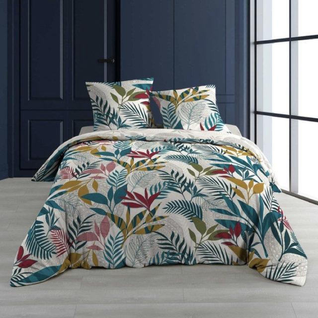 ambiance déco nature chambre linge de lit imprimé tropical