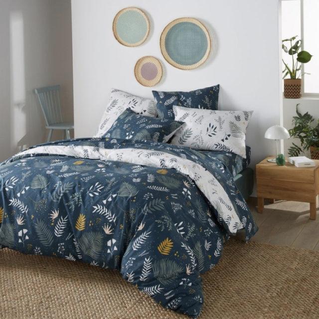 ambiance déco nature chambre linge de lit motif floral