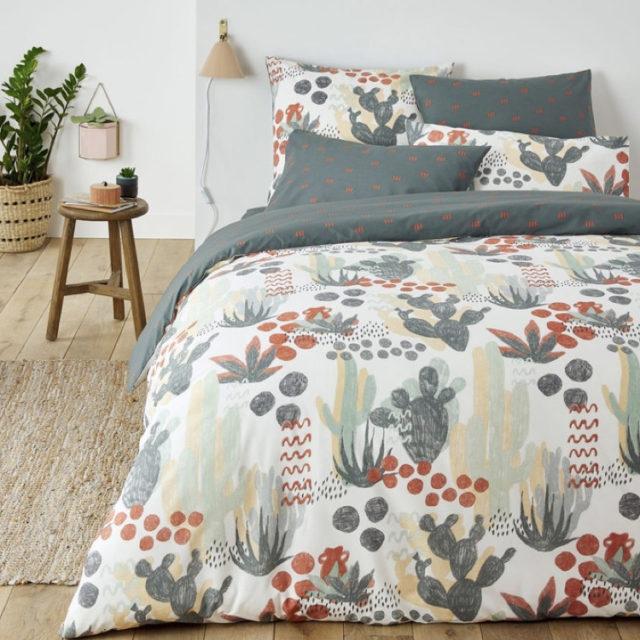 ambiance déco nature chambre linge de lit cactus