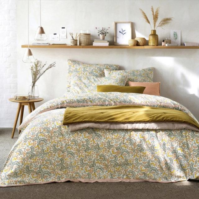 ambiance déco nature chambre linge de lit printemps