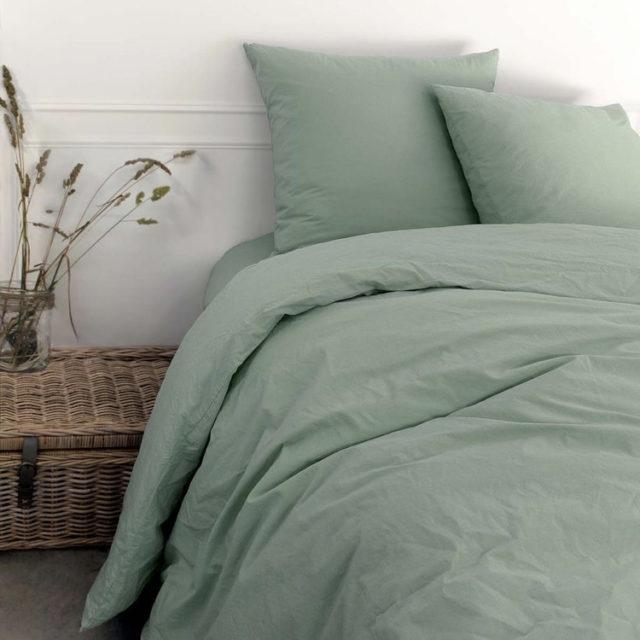 ambiance déco nature chambre linge de lit céladon