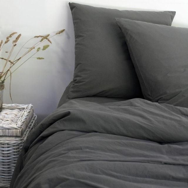 ambiance déco nature chambre linge de lit gris