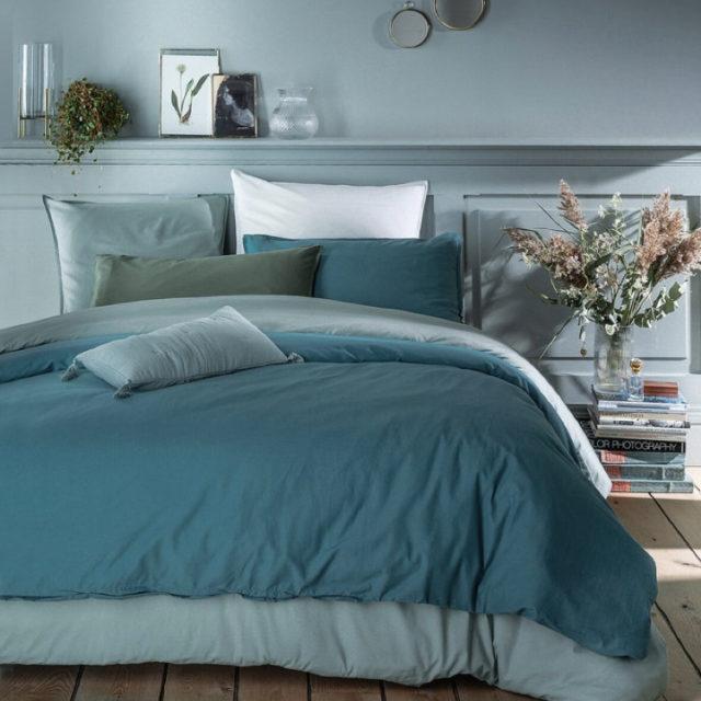 ambiance déco nature chambre linge de lit vert