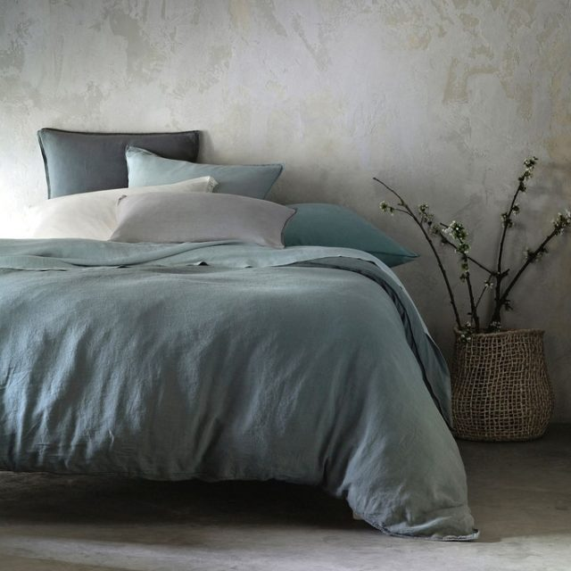 ambiance déco nature chambre linge de lit en chanvre