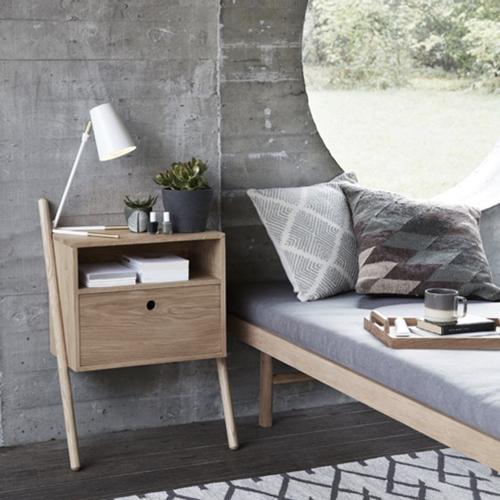 table de nuit murale en bois