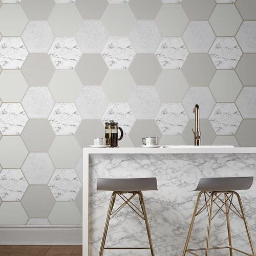papier peint beige hexagonal