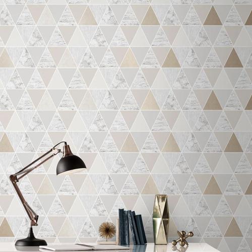papier peint triangle beige et marbre