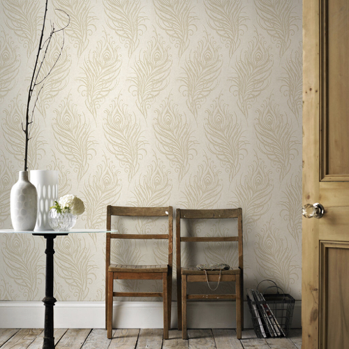 papier peint beige motif feuille