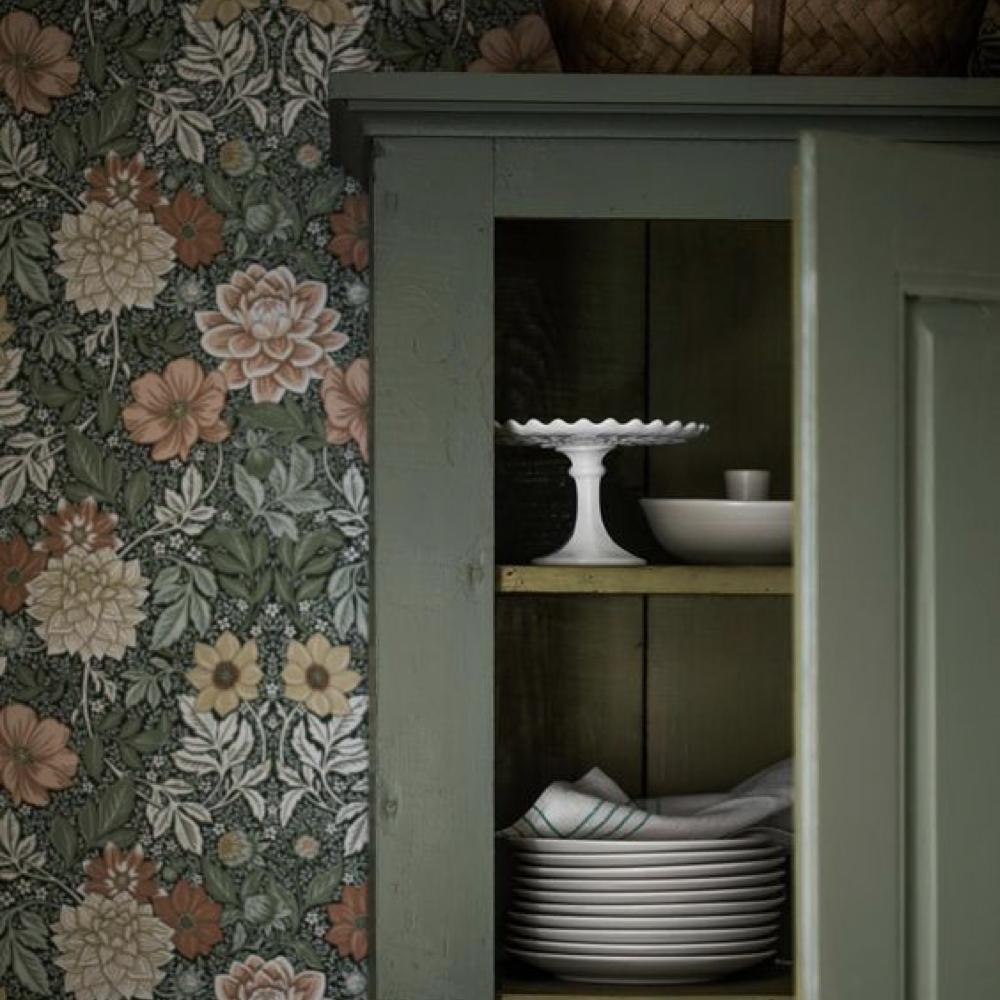 papier peint fleur cuisine salle a manger romantique 1