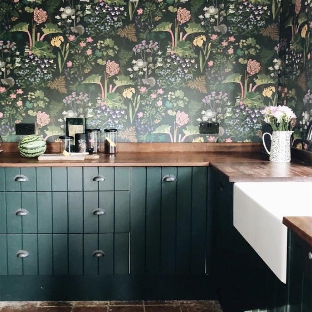 papier peint fleur cuisine salle a manger romantique 2