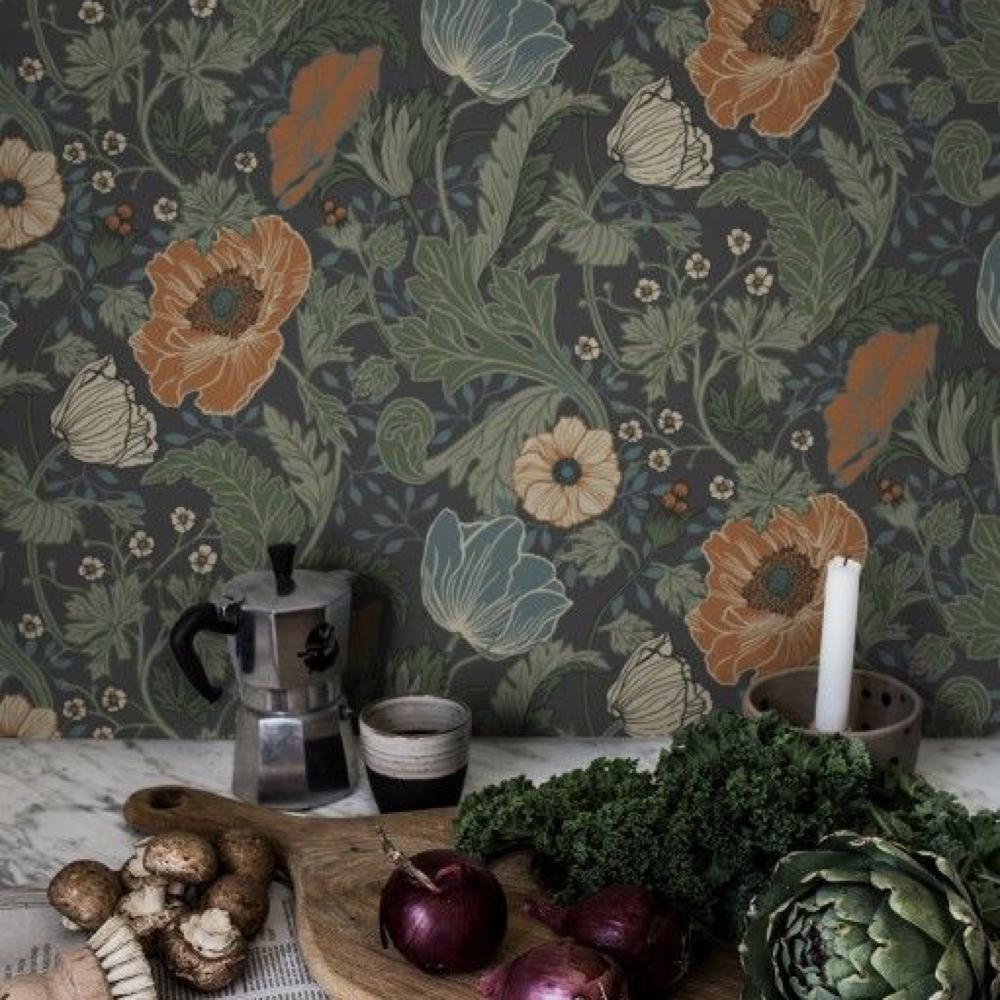papier peint fleur cuisine salle a manger romantique 5