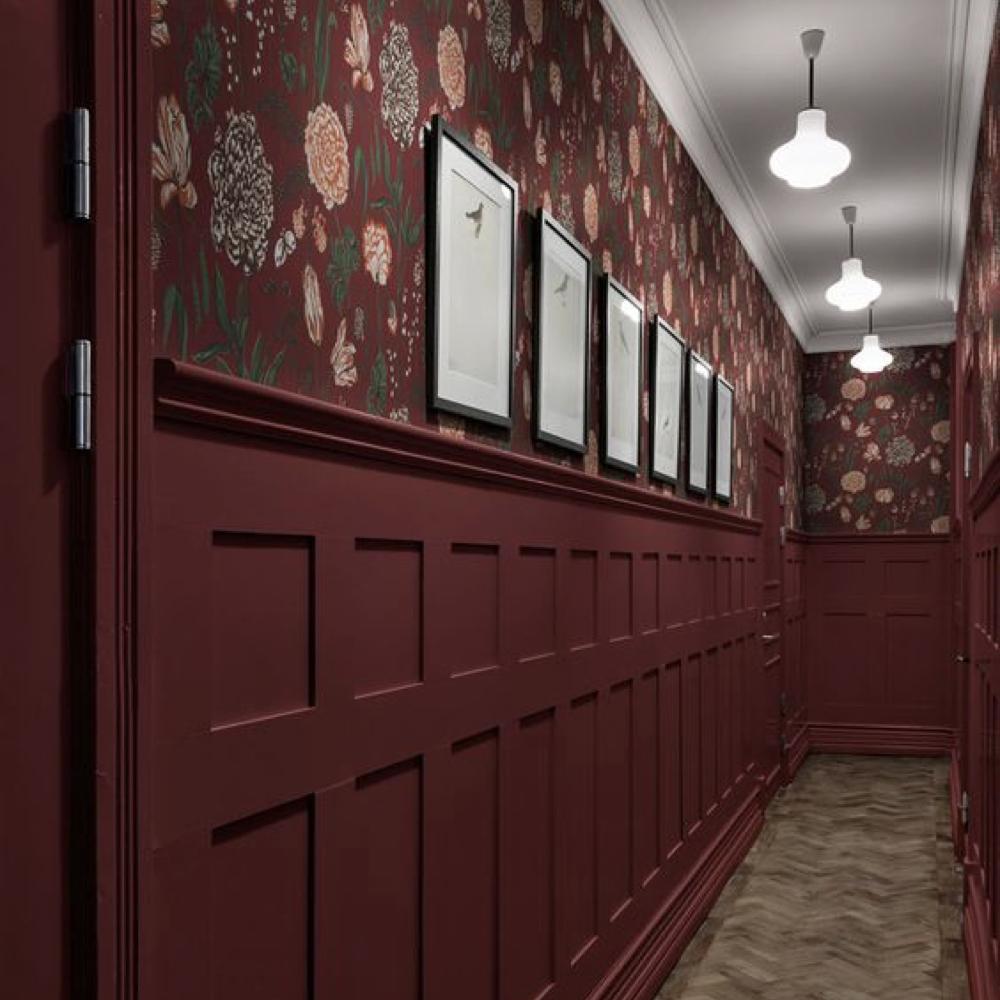 papier peint floral et soubassement bois peinture 3