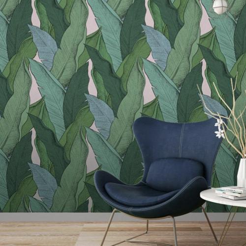 papier peint fresque nature tropical vert