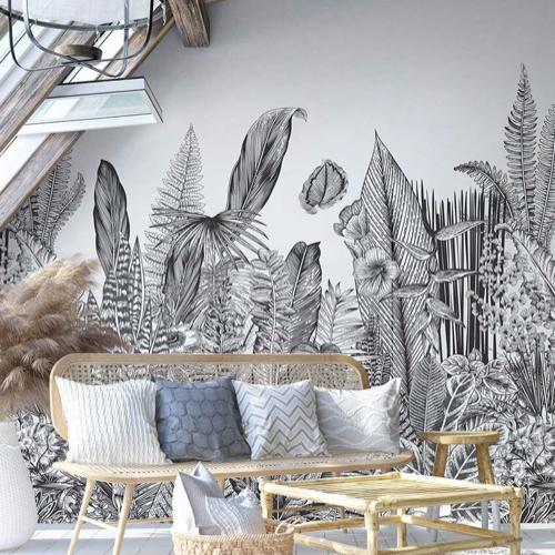 papier peint fresque nature tropical noir et blanc
