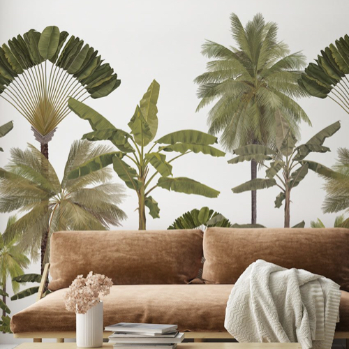 papier peint fresque nature tropical dessin