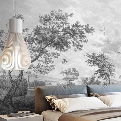papier peint fresque XXL noir et blanc