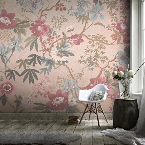papier peint panoramique motif fleur rose