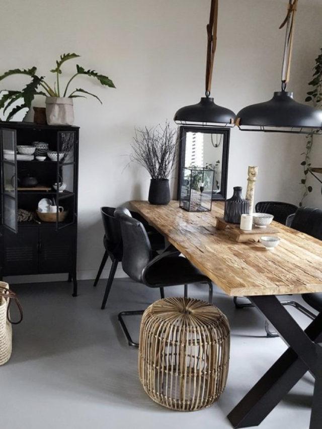 salle a manger noir et blanc mobilier indus