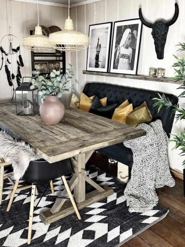 table recup + banquette + déco murale + salle à manger rock and roll