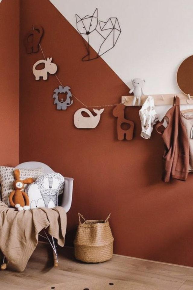 style deco couleur terracotta peinture oginale chambre enfant