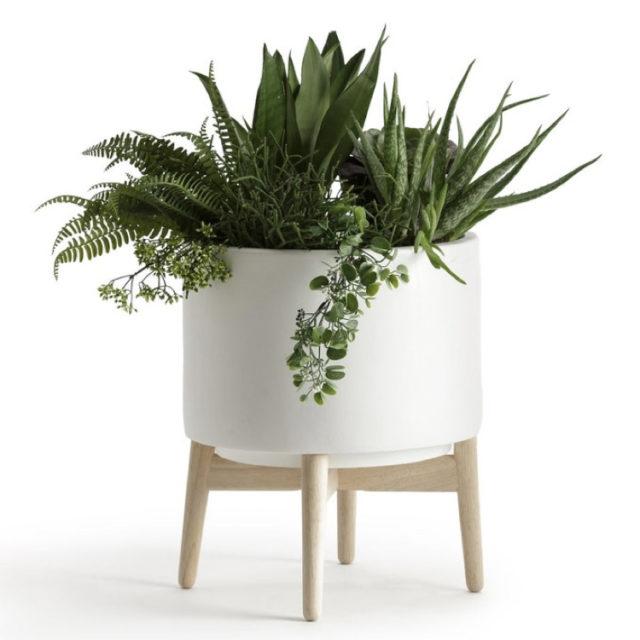 intérieur style nature cache-pot blanc  sur pied