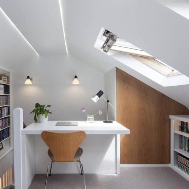 bureau mobilier rangement sous le toit pente