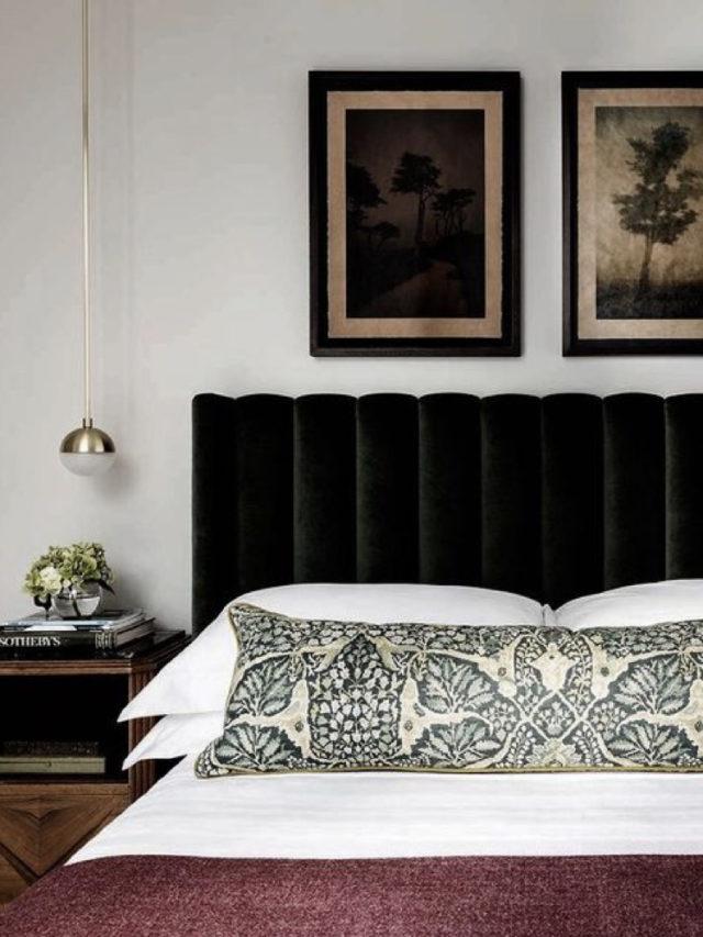 chambre deco classique et sobre tête de lit velours