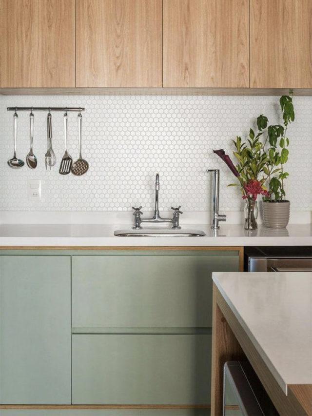cuisine deco blanc bois vert sauge