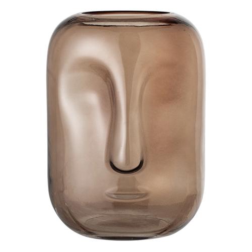 decoration visage vase marron en  verre