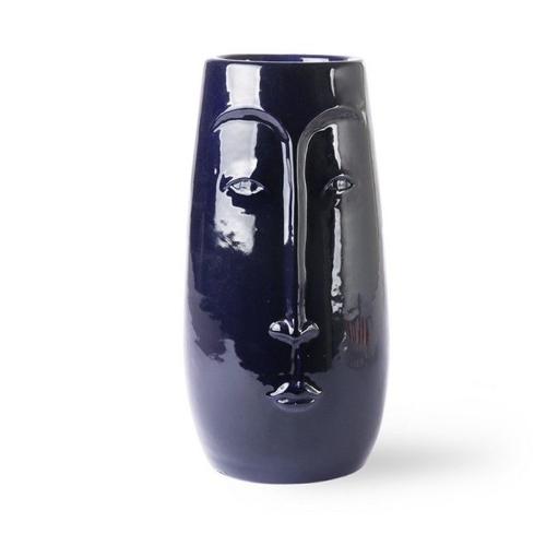 decoration visage vase bleu en céramique