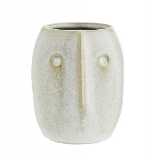 decoration visage vase beige en céramique