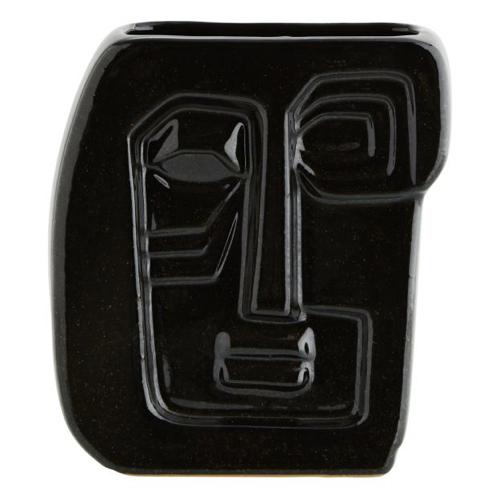 decoration visage vase noir