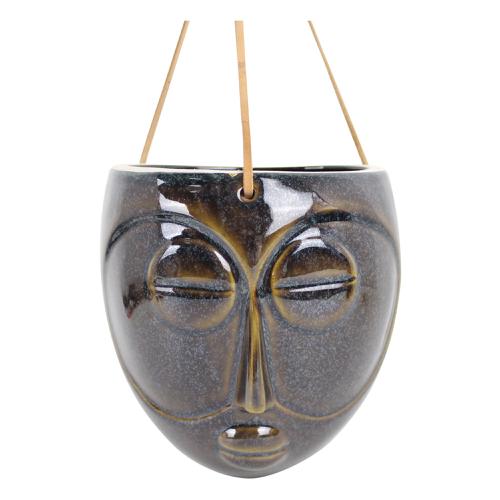 decoration visage pot de fleur suspendu