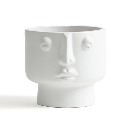cache pot visage blanc